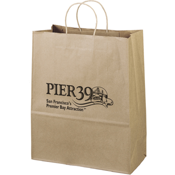 Eco-Friendly Brown Paper Tote Bags -13W x 6 x 15-1/2H