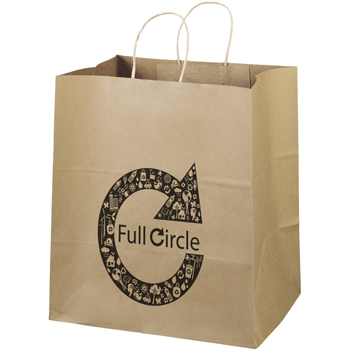 Eco-Friendly Brown Paper Tote Bags - 14W x 10 x 15-1/4H