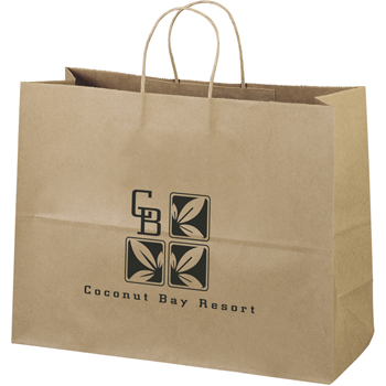 Eco-Friendly Brown Paper Tote Bags - 16W x 6 x 11-7/8H