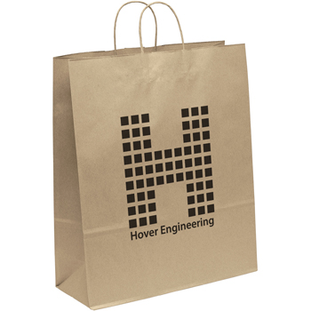Eco-Friendly Brown Paper Tote Bags - 16W x 6 x 19-1/8H
