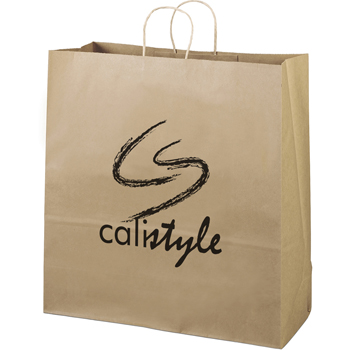 Eco-Friendly Brown Paper Tote Bags - 18W x 7 x 18-1/2H