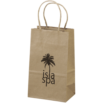 Eco-Friendly Brown Paper Tote Bags - 5-1/8W x 3-1/8 x 8-1/8H