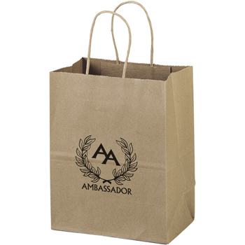 Eco-Friendly Brown Paper Tote Bags - 7-1/2W x 4-1/2 x 9-3/4H