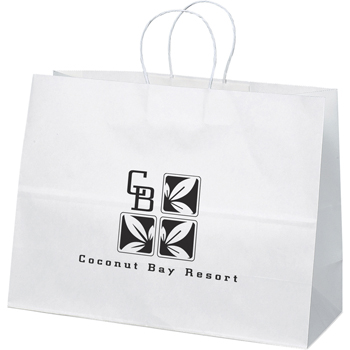Wide White Paper Bag 16W X 6D X 12H
