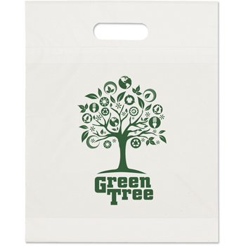 12 W x 15 H x 2-7/8 - Recyclable Die Cut Handle Plastic Tote Bags