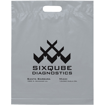 15 W x 18-7/8 H x 3 - Pick-A-Color Die Cut Handle Plastic Tote Bags