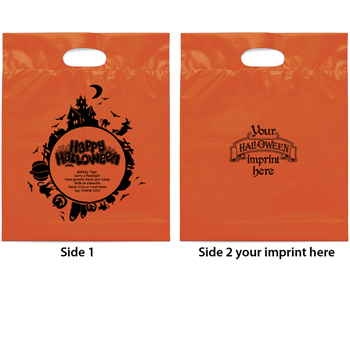 12 W x 14-7/8 H x 3 - Halloween Theme - Scary Night Plastic Tote Bags
