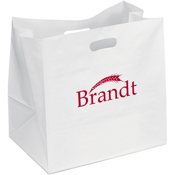 14 W x 10 x 13-7/8 H - Take-Out White Die Cut Handle Plastic Tote Bags