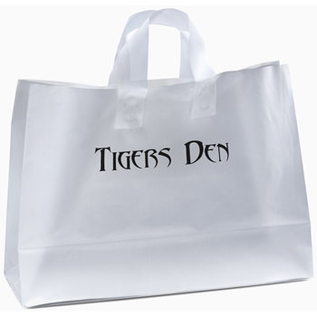 16 W x 6 x 11-7/8 H - Universal Frosted Plastic Shopping Totes Bag