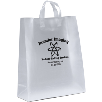 16 W x 6 x 18-7/8 H - Universal Frosted Plastic Shopping Tote Bags - Carry-All