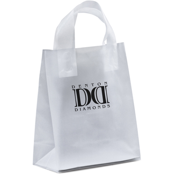 8 W x 4 x 9-7/8 H - Universal Frosted Plastic Shopping Tote Bag