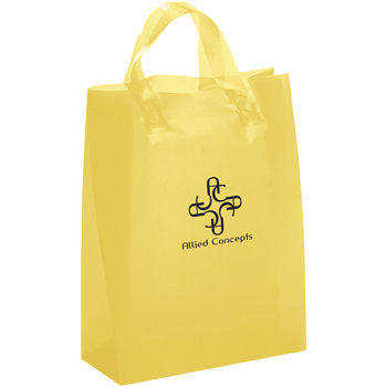 8 W x 4 x 9-7/8 H - Colorful Frosted Plastic Shopping Tote Bags